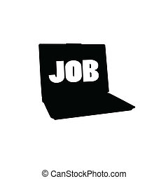 laptop silhouette and message for a job
