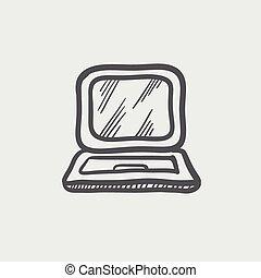 Laptop sketch icon