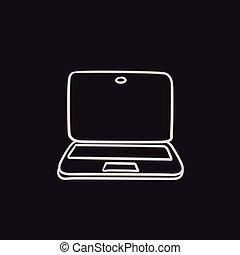 Laptop sketch icon.