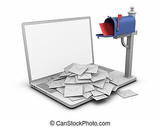 laptop, -, skrzynka pocztowa