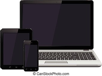 laptop, smartphone and tablet with blank screen mockup