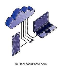 laptop smartphone cloud computing connection network data