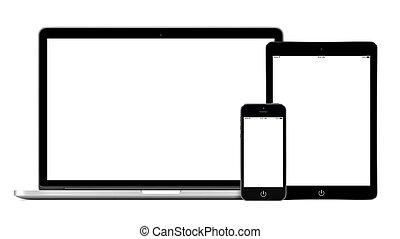laptop, smartphone, och, skrivblock persondator, mockup