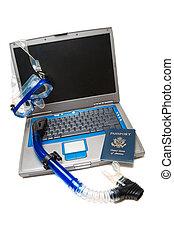 laptop, snorkeling
