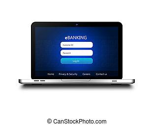 laptop, sobre, isolado, página, ebanking, login, branca