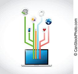 laptop social media circuit diagram illustration