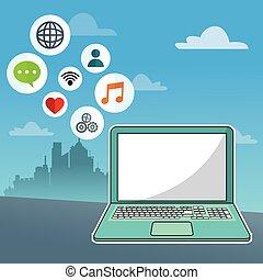laptop social media communication network city background