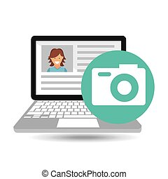 laptop social profile camera icon