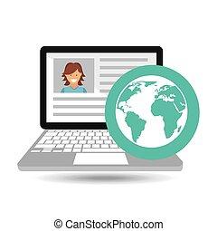 laptop social profile globe icon