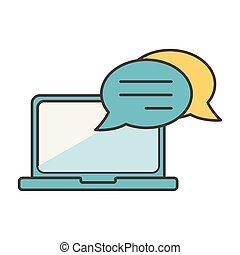 laptop speech bubble social media icon