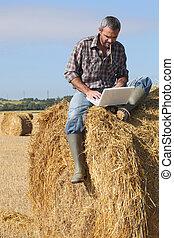 laptop, stóg siana, rolnik