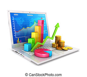 laptop, statistik, 3d
