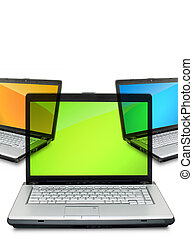 Laptop - Open laptop showing keyboard and screen isolated on...