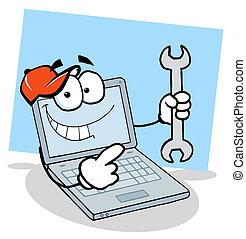 laptop, strappare, presa a terra