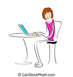 laptop, studente, lavorativo