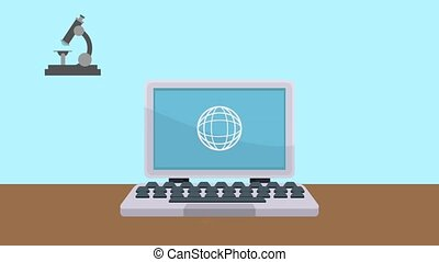 Laptop surfing on internet HD animation