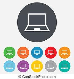 laptop, symbol., zeichen, pc, notizbuch, icon.