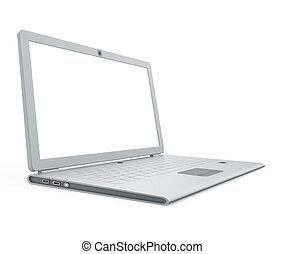 laptop, synvinkel, silver, synhåll