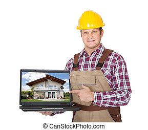 laptop, szerkesztés munkás, átnyújtás