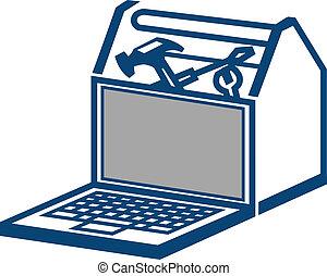 laptop, szerszámosláda