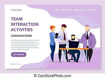 laptop, szyfranci, działalność, drużyna, interakcja