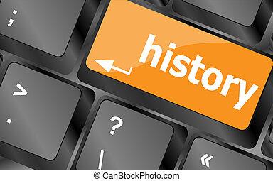 laptop, történelem, azt, kulcs, billentyűzet