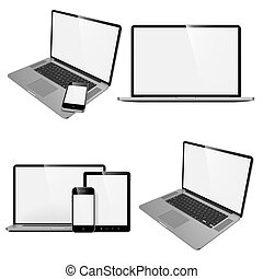 Laptop, Tablet and Phone.