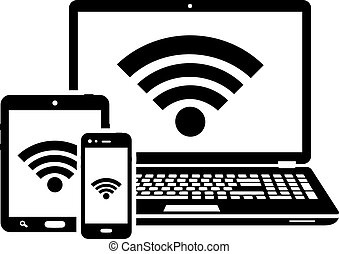 Laptop, tablet and smartphone icons with wifi internet connection symbol