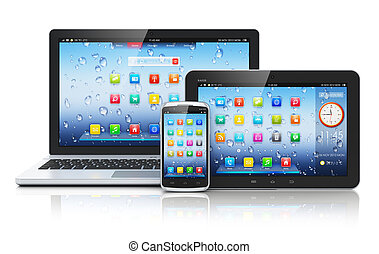 Mobile devices, mobility and telecommunication concept: metal business laptop or office notebook, tablet PC computer and modern black glossy touchscreen smartphone with colorful interface with application icons isolated on white background with reflection effect Design is my own and all text labels ...