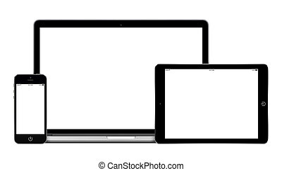 Mockup consisting of laptop, tablet pc in landscape orientation and mobile smartphone with blank screen. For adaptive design presentation. All gadgets in focus. Isolated on white background. Mockup consisting of laptop, tablet pc in landscape orientation and mobile smartphone with blank screen. For ...
