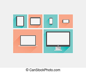 Laptop, tablet, smartphone, computer display flat vector...