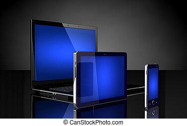 laptop, tavoletta, e, telefono mobile, con, blu, schermi, su, nero