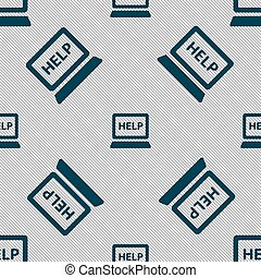 Laptop tech service icon sign. Seamless pattern with geometric texture. Vector