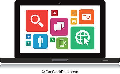 laptop, technologie, app