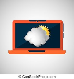 laptop technology. weather forecast cloud sun icon graphic