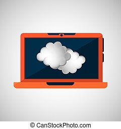 laptop technology. weather forecast cloud icon graphic