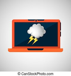laptop technology. weather forecast cloud lightning icon graphic
