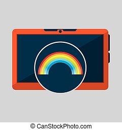 laptop technology. weather forecast rainbow icon graphic