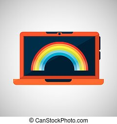 laptop technology. weather forecast rainbow icon graphic