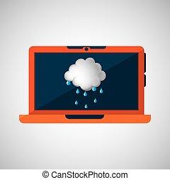 laptop technology. weather forecast cloud rain icon graphic