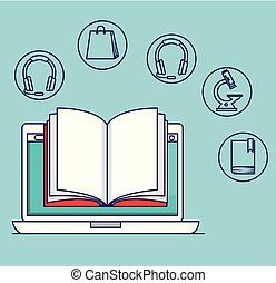 laptop technology with book and elearning education vector...