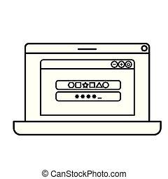 laptop, tela, com, janela aberta, ícone, isolado