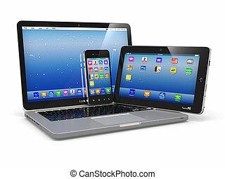 laptop, telefon, és, tabletta, pc., elektronikus, berendezés