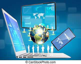 laptop, telefon, schirm, vorrichtung, (elements, von,...