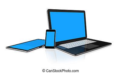 laptop, telefono mobile, e, tavoletta digitale, calcolatore...