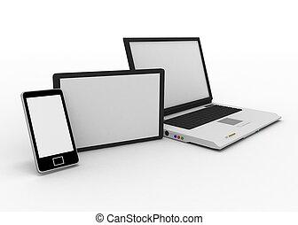 laptop, telefono mobile, e, tavoletta digitale, calcolatore pc