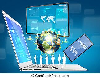 laptop, telefono, schermo, congegno, (elements, di, questo,...