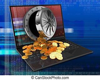 laptop, tesouro, computador, 3d