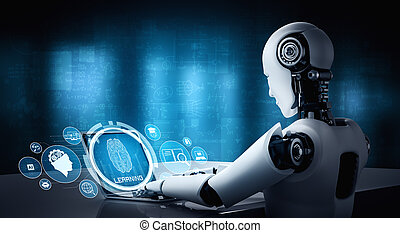 laptop, tisch, ai, humanoid, begriff, denken, sitzen, gehirn, roboter, gebrauch