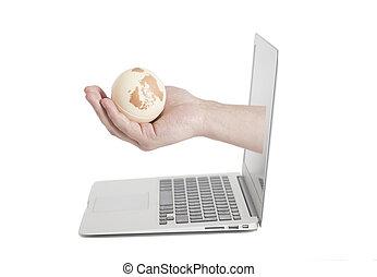 laptop, titolo portafoglio mano, venuta, schermo, globo terra